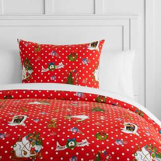 Pottery Barn Teen Grinch Flannel Dot Duvet Cover, Twin/Twin XL, Red