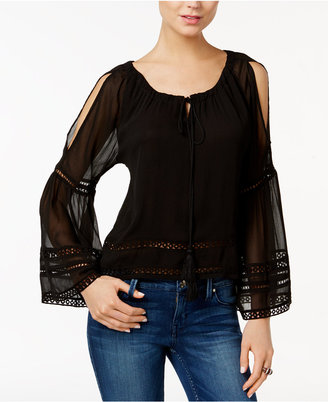 GUESS Marina Illusion Cold-Shoulder Peasant Top $69 thestylecure.com