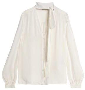 Emilio Pucci Pussy-Bow Gathered Silk-Georgette Blouse