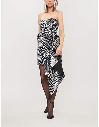 HALPERN Asymmetric zebra sequinned dress