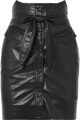 Nanushka - Reese Belted Vegan Faux Leather Mini Skirt - Black