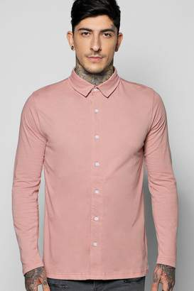 boohoo Long Sleeve Jersey Shirt