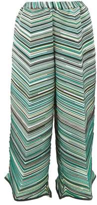 Issey Miyake Striped Technical Pleated Jersey Trousers - Womens - Green Multi
