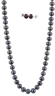 7-7.5MM Black Pearl and 14K White Gold Necklace and Earrings Set