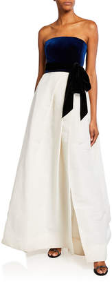 Monique Lhuillier Velvet-Top Ball Gown