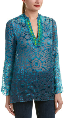 Hale Bob Burnout Silk-Blend Tunic