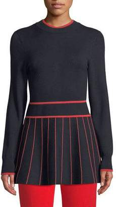Lela Rose Long-Sleeve Fit-and-Flare Striped Knit Top