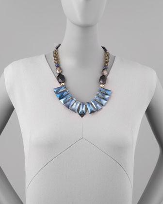 Nakamol Iridescent Crystal Bib Necklace, Blue Multi