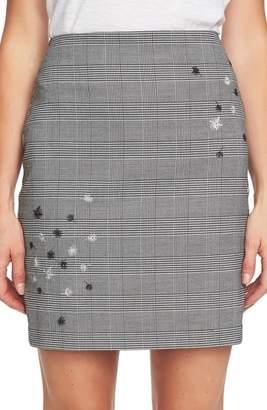 CeCe Glen Plaid Embroidered Miniskirt