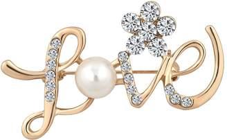 Crystal Pearl LovelyJewelry Austrian Crystal Diamond Grade Pearl Brooch Pin Brooch Love Genuine Austrian