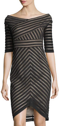 JAX 3/4-Sleeve Quilted-Lace Sheath Dress $119 thestylecure.com