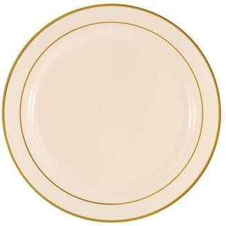 "Kaya Collection - Disposable Bone with Gold Rim Plastic Round 6"" Dessert/Pastry Plates - (20 Plates)"