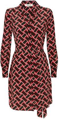 Diane von Furstenberg Silk Geometric Print Shirt Dress