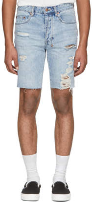 Ksubi Blue Ripped Axel Denim Shorts