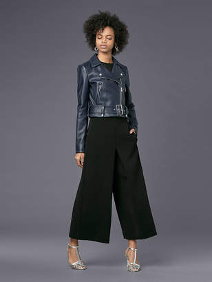 Diane von Furstenberg Cropped Moto Leather Jacket