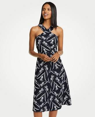 Ann Taylor Petite Pineapple Embroidered Halter Dress