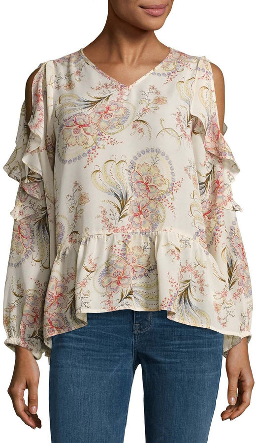 BUFFALO JEANS Buffalo Jeans Long Sleeve Floral Ruffle Top