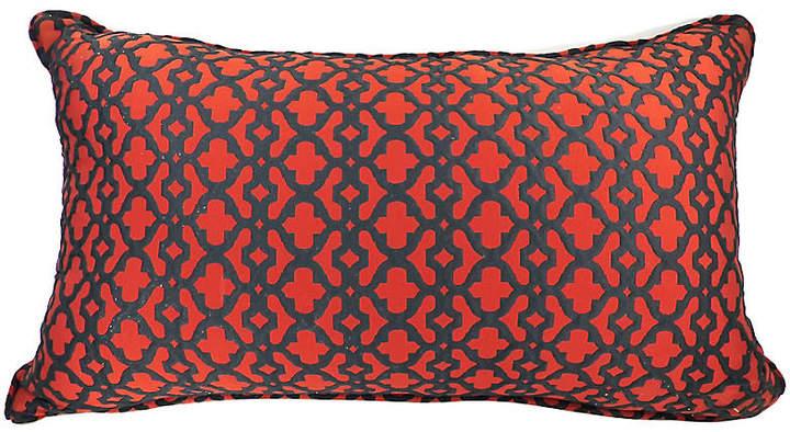 Red & Black Lattice Lumbar Pillow