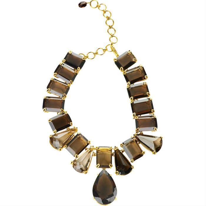 Smoky Topaz Deco Necklace by Bounkit for Vivre