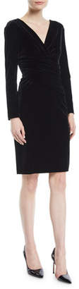 Emporio Armani V-Neck Long-Sleeve Ruched Velvet Jersey Dress