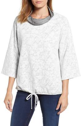 Chaus Floral Terry Cowl Neck Top