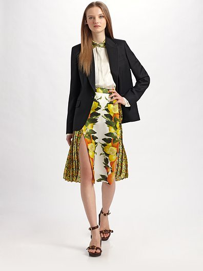 Stella McCartney Citrus-Print Silk Skirt