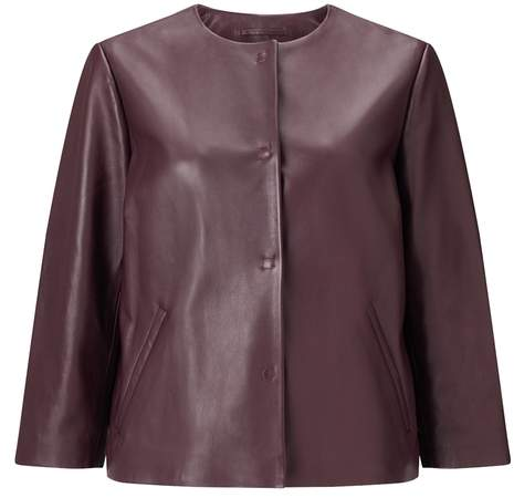 Collarless Soft Leather Jacket