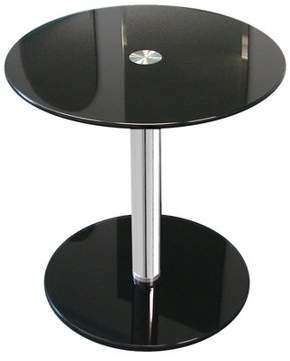 "Fab Glass and Mirror 16"" Black Round Modern Glass Side Table with 19-1/4"" height"