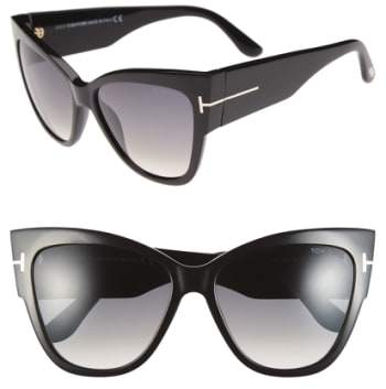Women's Tom Ford Anoushka 57Mm Gradient Cat Eye Sunglasses - Shiny Black/ Gradient Grey