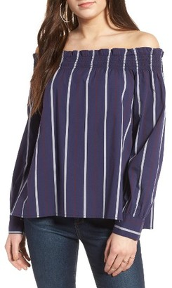 Women's Bp. Stripe Off The Shoulder Top $45 thestylecure.com