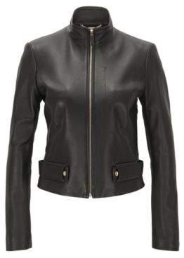 HUGO BOSS Lambskin Leather Jacket Sanuvo 4 Black