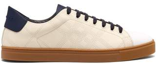 Burberry Albert Perforated Low Top Leather Trainers - Mens - Cream