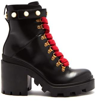 Gucci Lace Up Leather Ankle Boots - Womens - Black