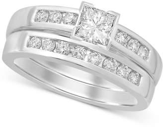 Macy's Diamond Princess-Cut Bridal Set (9/10 ct. t.w.) in 14k White Gold