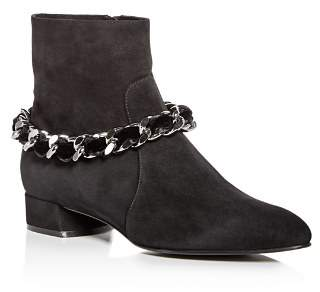 Casadei Women's Ilary Velvet-Embellished Chain Suede Booties