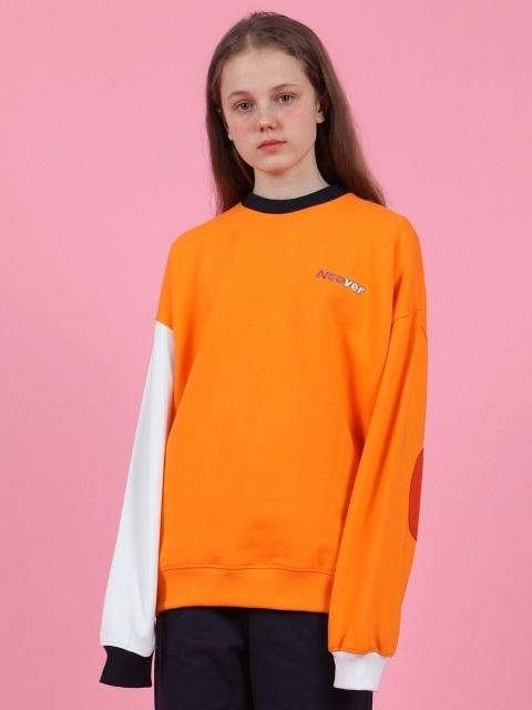 Block Elbow Point Sweatshirt Orange