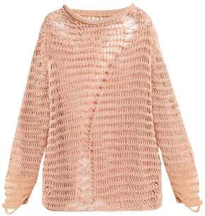 Maison Margiela Distressed Open-Knit Cotton-Blend Sweater
