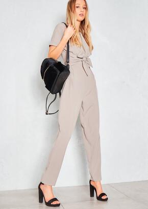 b9ac7d8fd7e4 Missy Empire Missyempire Eva Beige Tie Waist Zip Detail Jumpsuit