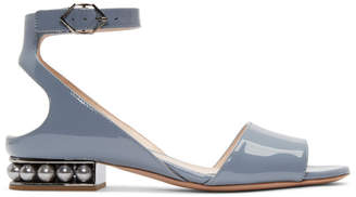 Nicholas Kirkwood Blue Patent Lola Pearl Sandals