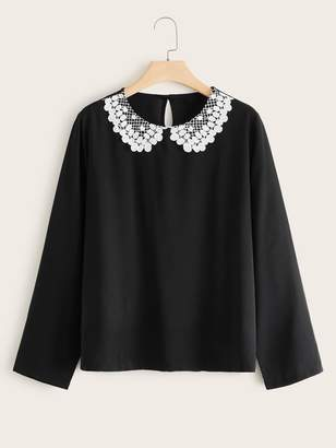 Shein Plus Lace Contrast Peter Pan Collar Blouse