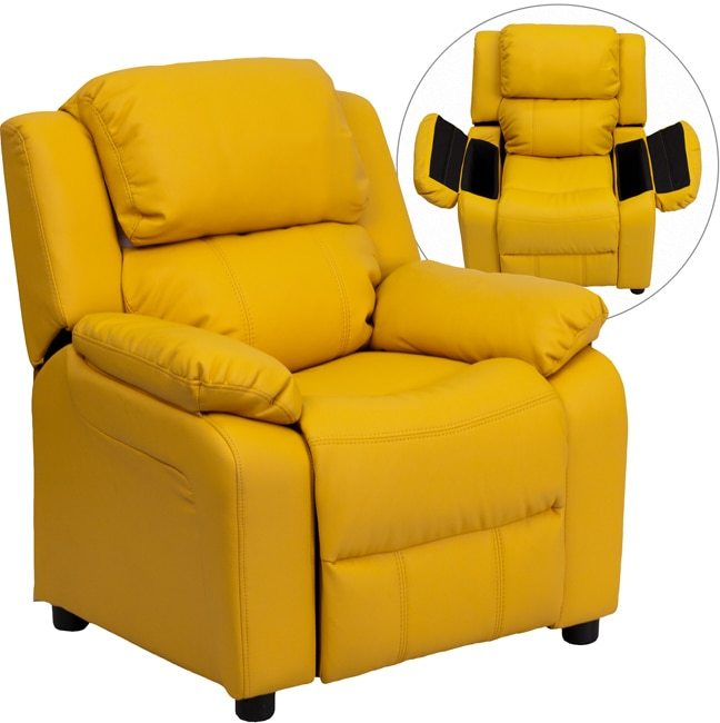 Flash Furniture Deluxe Heavily Padded Contemporary Yellow Vinyl Kids Recliner with Storage Arms