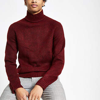 River Island Only and Sons dark red knit high neck sweater