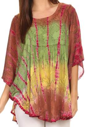 Blue & Cream Sakkas 14031 - Ellesa Ombre Tie Dye Circle Poncho Blouse Shirt Top With Sequin Embroidery - OS