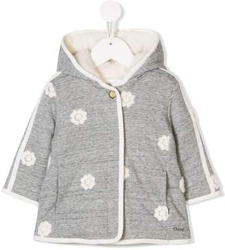 Chloé Kids flower-print hooded coat