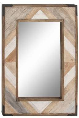 DecMode Decmode 38 X 28 Inch Rustic Rectangular Wooden Framed Wall Mirror, Brown