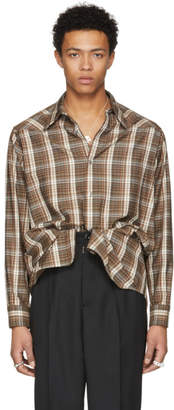 Maison Margiela Brown Long Plaid Shirt
