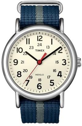 Timex Weekender Watch, Blue/Gray Stripe Nylon Slip-Thru Strap