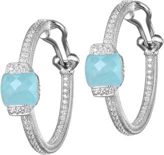 Judith Ripka Sterling Milky Aquamarine Hoop Earrings
