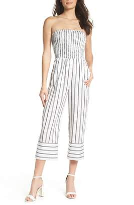 Ali & Jay Get in the Grove Stripe Strapless Jumpsuit