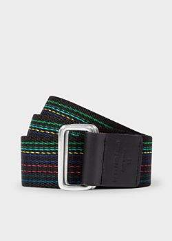 Paul Smith Men's 'Cycle Stripe' Stitching Canvas Double Buckle Belt